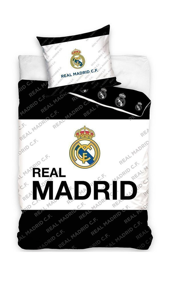 Parure de lit real madrid 1 personne 100 coton 140x200 cm for Decoration murale juventus