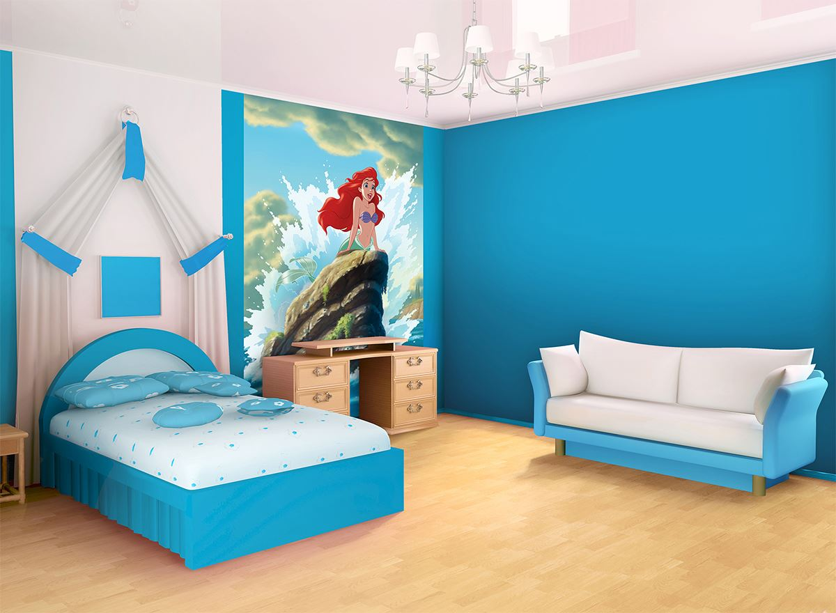 grande fresque murale ariel la petite sir ne en papier. Black Bedroom Furniture Sets. Home Design Ideas