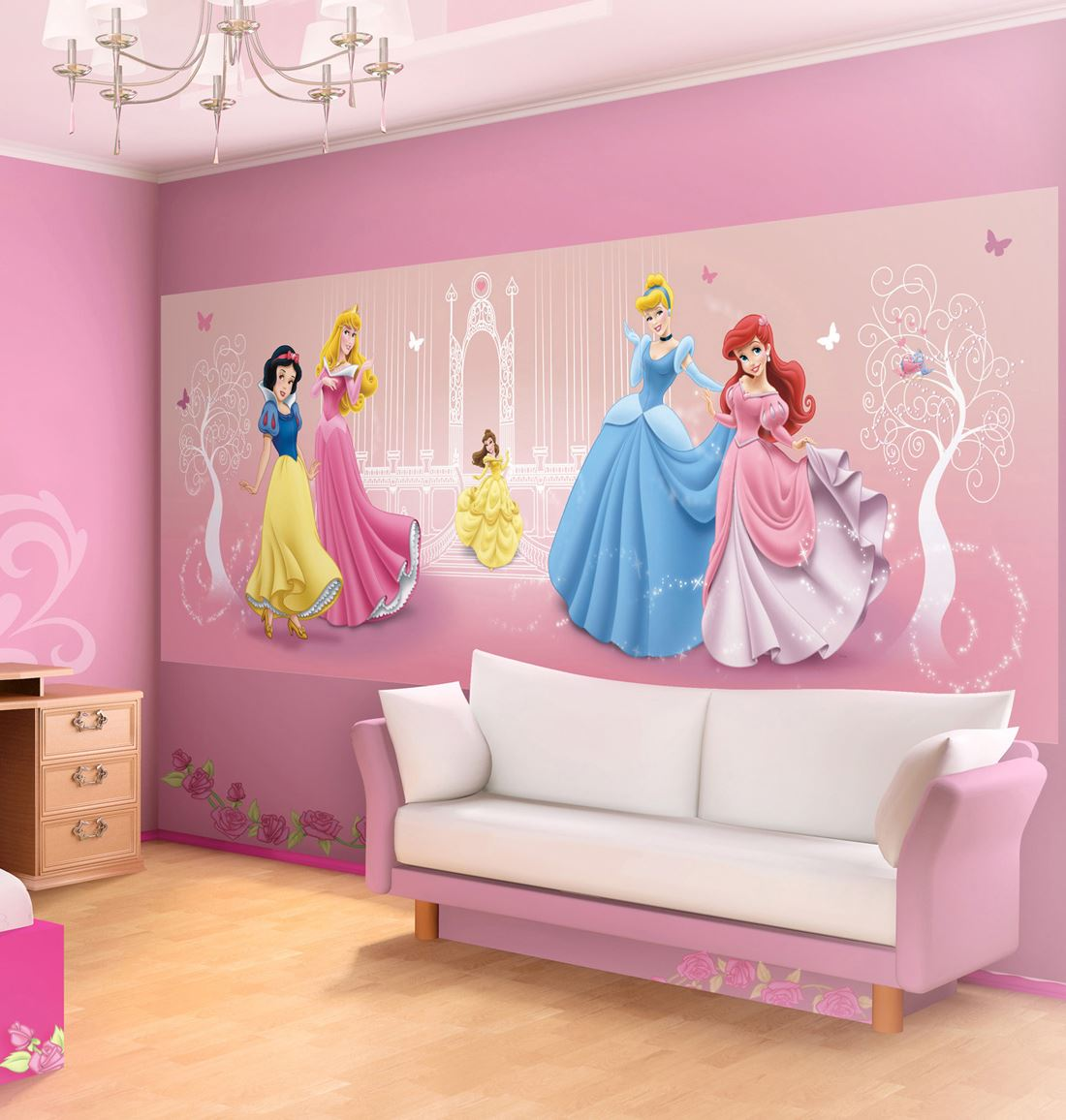 fresque murale princesses disney 250x104 cm pour chambre d 39 enfant lesaccessoires. Black Bedroom Furniture Sets. Home Design Ideas
