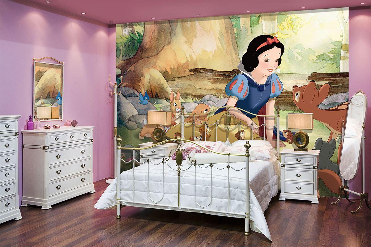Papier peint blanche neige animaux pour d co chambre d - Papier peint pour chambre d enfant ...