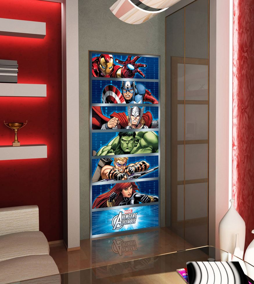papier peint marvel avengers comics stripes avec captain america hulk ironman lesaccessoires. Black Bedroom Furniture Sets. Home Design Ideas