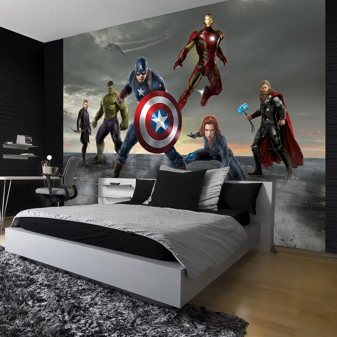 papier peint disney avengers pour chambre d 39 enfant ou ado lesaccessoires. Black Bedroom Furniture Sets. Home Design Ideas