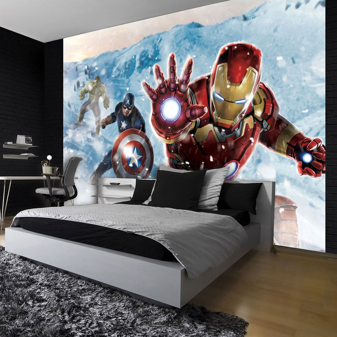 papier peint photo marvel avengers ironman captain america et hulk lesaccessoires. Black Bedroom Furniture Sets. Home Design Ideas