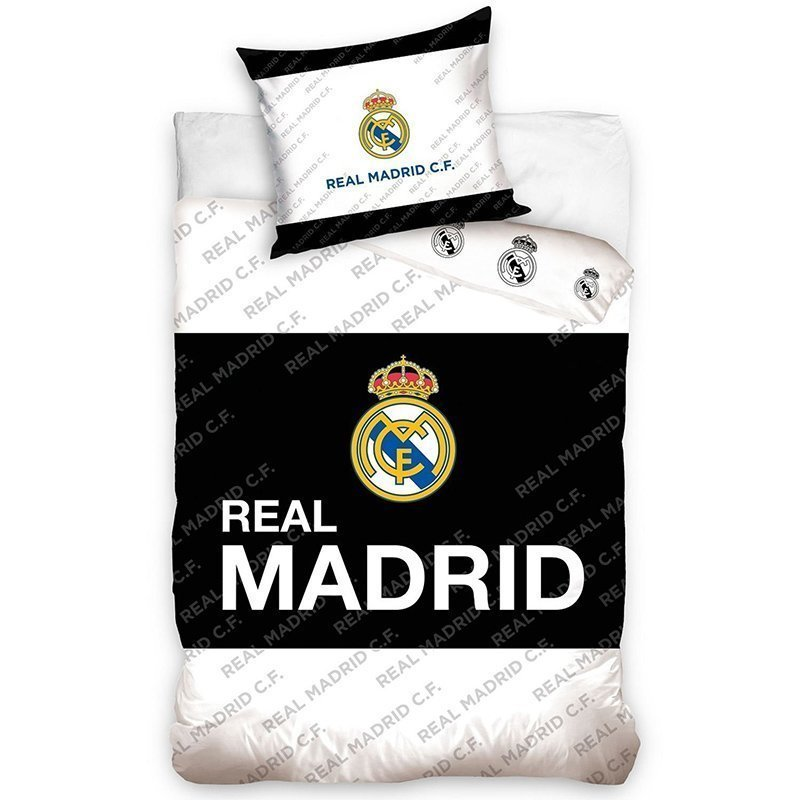 Housse de couette real madrid 1 personne 100 coton 140x200 cm for Decoration murale juventus