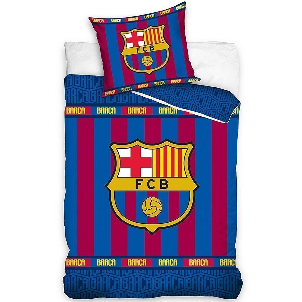 Housse de couette fc barcelone stripes fcb 140x200 100 coton for Decoration murale juventus