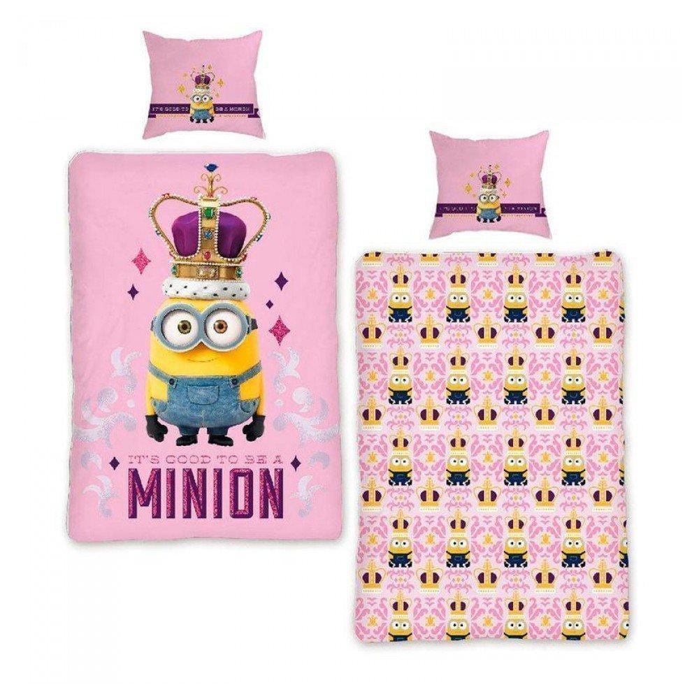 housse de couette minions rose 100 coton pour fille. Black Bedroom Furniture Sets. Home Design Ideas