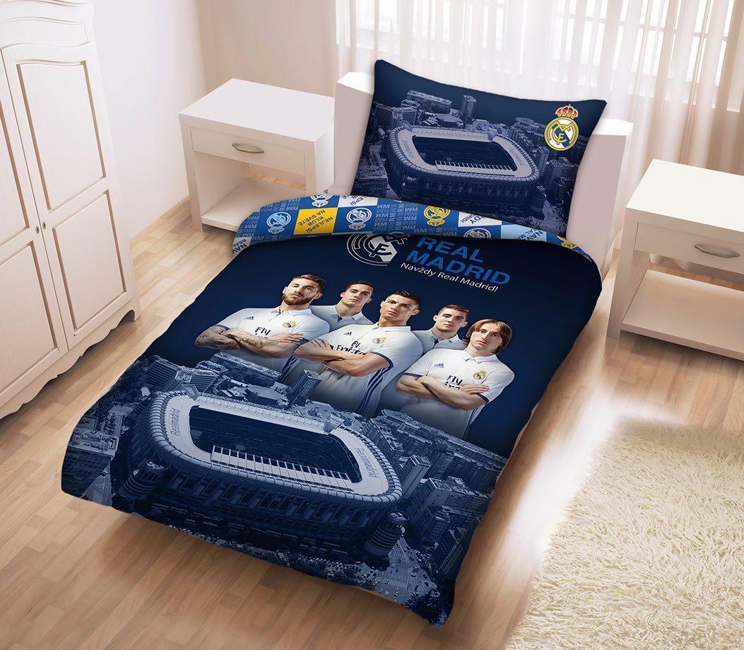 housse de couette real madrid joueurs 100 coton 140x200 cm. Black Bedroom Furniture Sets. Home Design Ideas