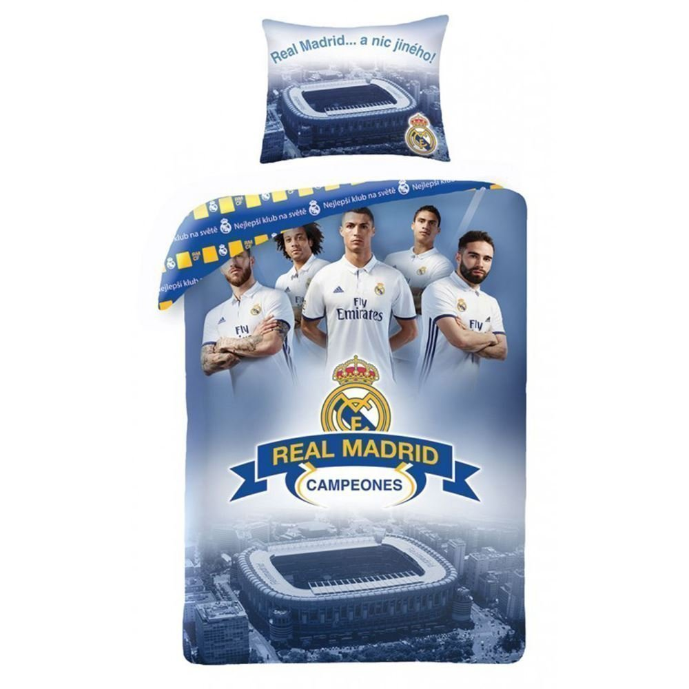 Housse de couette real madrid champions 100 coton 140x200 cm for Decoration murale juventus