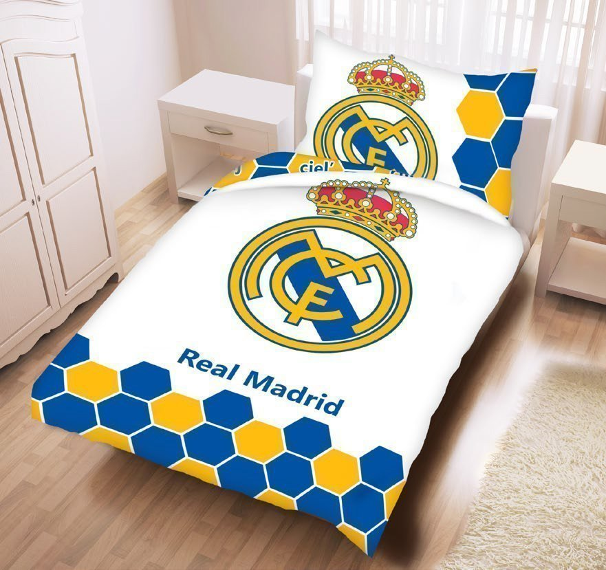 Housse de couette real madrid logo 100 coton 140x200 cm for Decoration murale juventus
