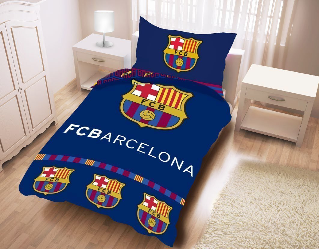 Parure de lit fc barcelone football 100 coton 140x200 cm for Decoration murale juventus