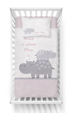 Linge de lit bébé Hippopotame Rose pour Bébé