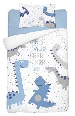 Housse de Couette Dinosaures pour lit Bébé - Bleu