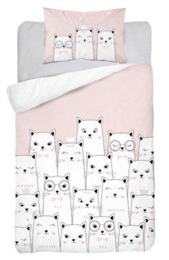 Parure de lit Chats à Lunettes Rose