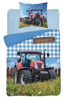 Parure de lit Tracteur Rouge - Housse de Couette + Taie